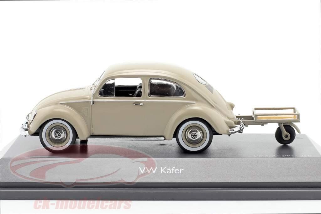 Volkswagen VW Pretzel beetle with Auto Porter beige 1:43 Schuco