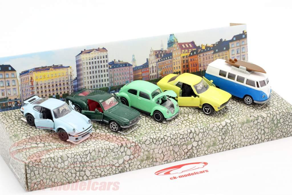 5-Car Set Vintage Pacote de presente 1:64 Majorette