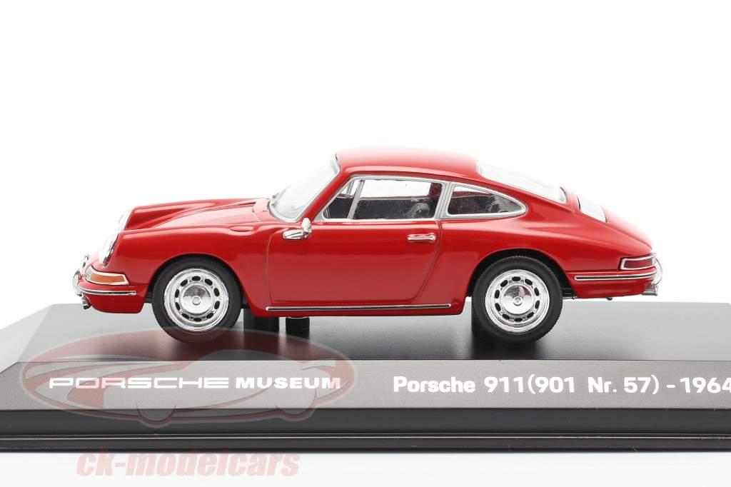 Porsche 911 (901 Nr. 57) Bouwjaar 1964 rood 1:43 Welly