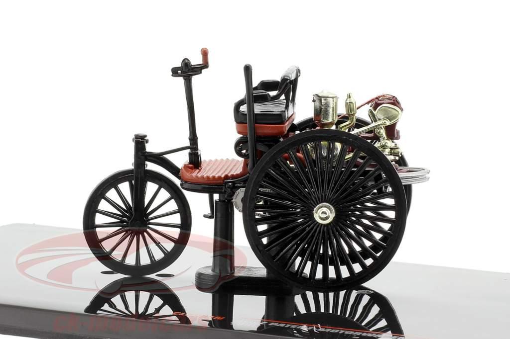 Benz Voiture à moteur brevetée Année de construction 1886 noir / brun-rouge 1:43 Ixo
