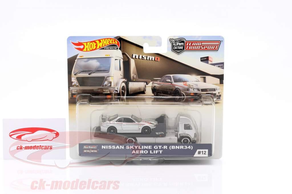Set Team Transport: Nissan Skyline GT-R (BNR34) & Aero Lift 1:64 HotWheels
