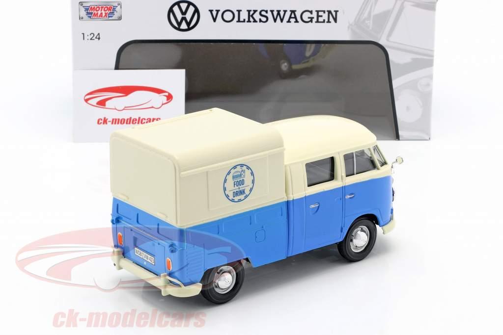 Volkswagen VW Typ 2 (T1) Pick-Up Food Truck azul / blanco 1:24 MotorMax
