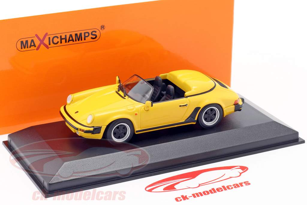 Porsche 911 Speedster Bouwjaar 1988 geel 1:43 Minichamps