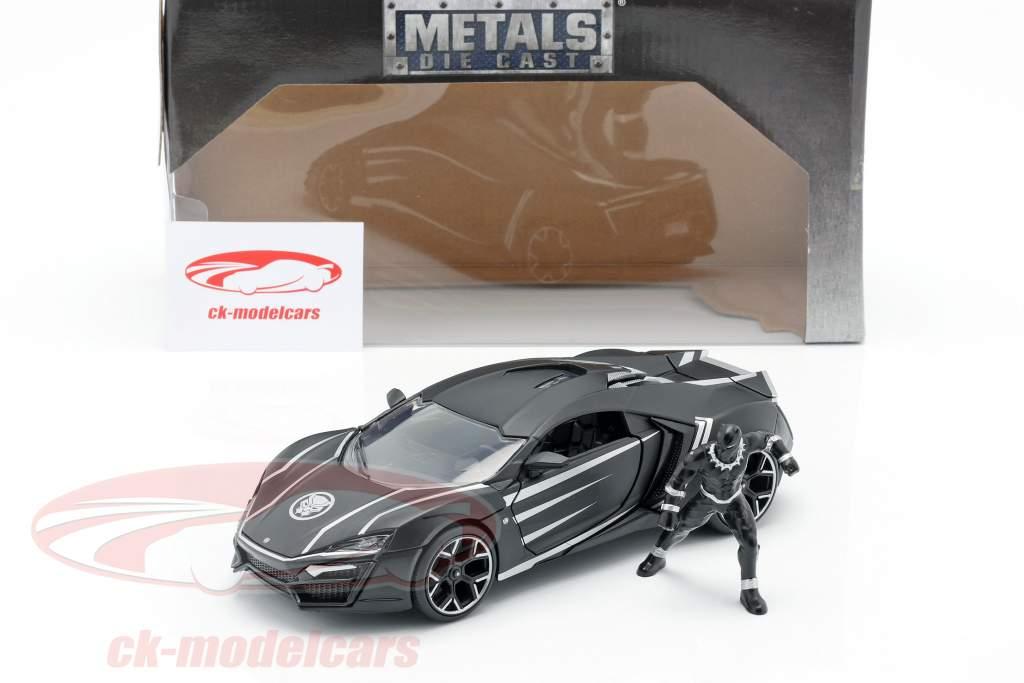 Lykan Hypersport with figure Black Panther Marvel Avengers black 1:24 Jada Toys
