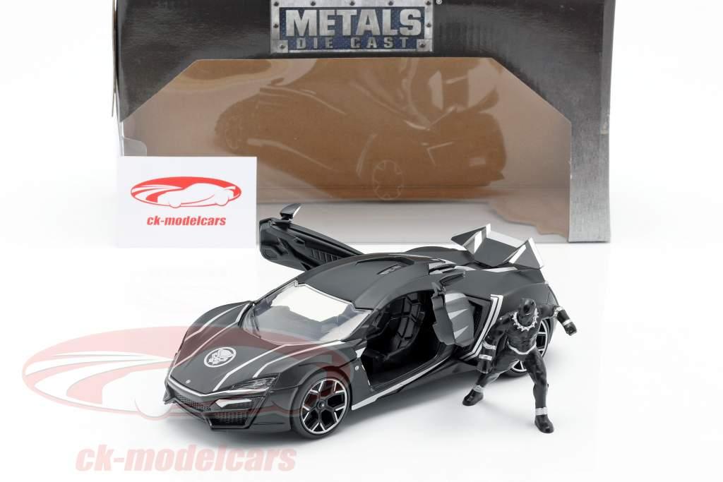 Lykan Hypersport avec La figure Black Panther Marvel Avengers noir 1:24 Jada Toys