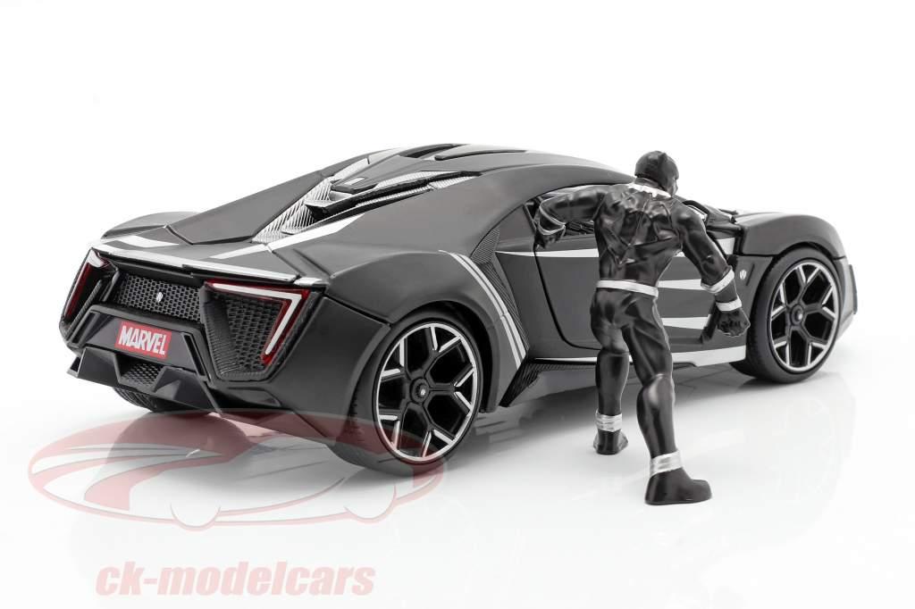 Lykan Hypersport con Figura Black Panther Marvel Avengers negro 1:24 Jada Toys