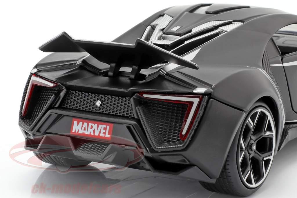 Lykan Hypersport com Figura Black Panther Marvel Avengers preto 1:24 Jada Toys