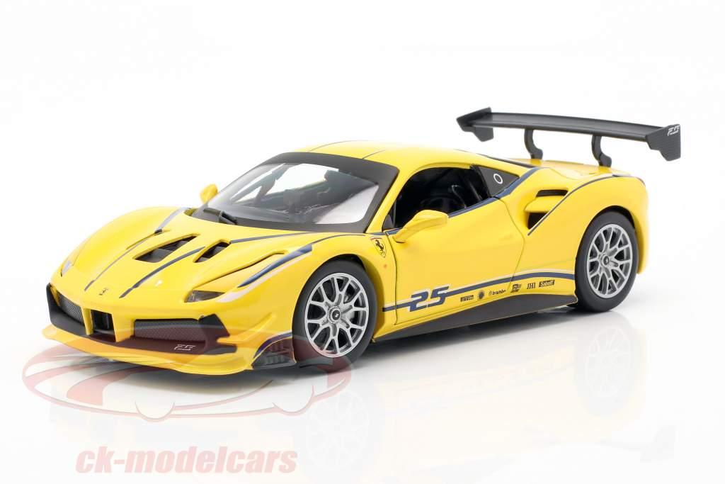 Ferrari 488 Challenge #25 amarelo 1:24 Bburago