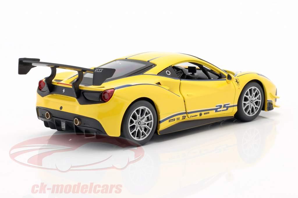Ferrari 488 Challenge #25 geel 1:24 Bburago