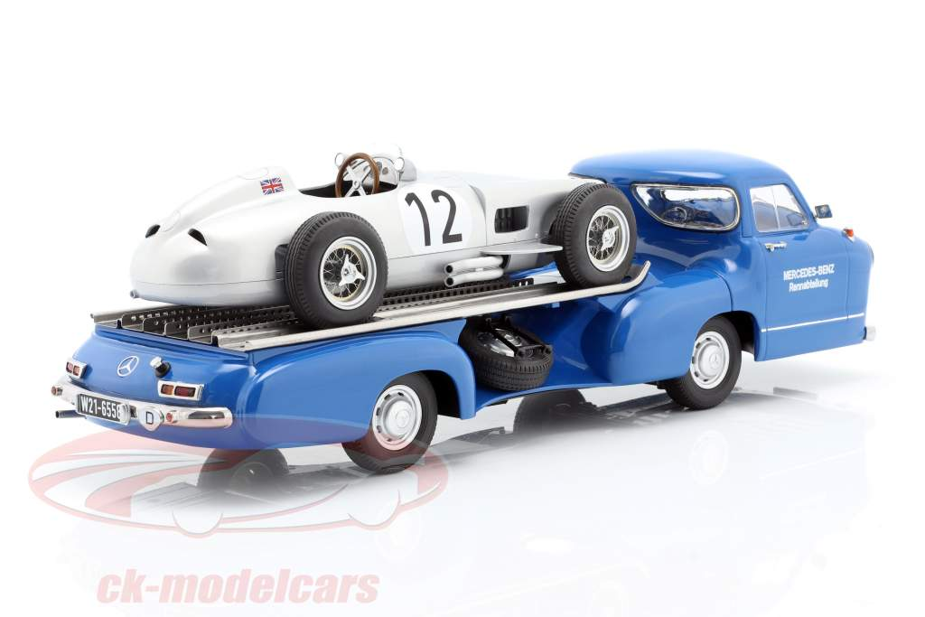 Set: Mercedes-Benz Race Car Transporter Blue Wonder With Mercedes-Benz W196 #12 1:18 iScale