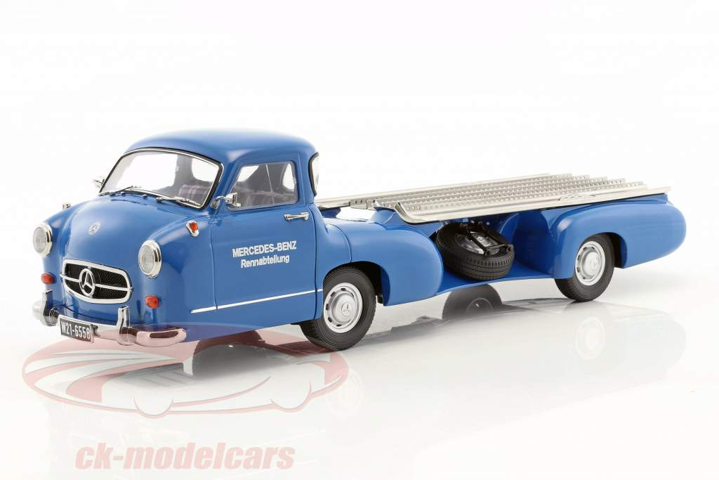 Set: Mercedes-Benz Race Car Transporter Blue Wonder With Mercedes-Benz W196 #12 1:18 iScale