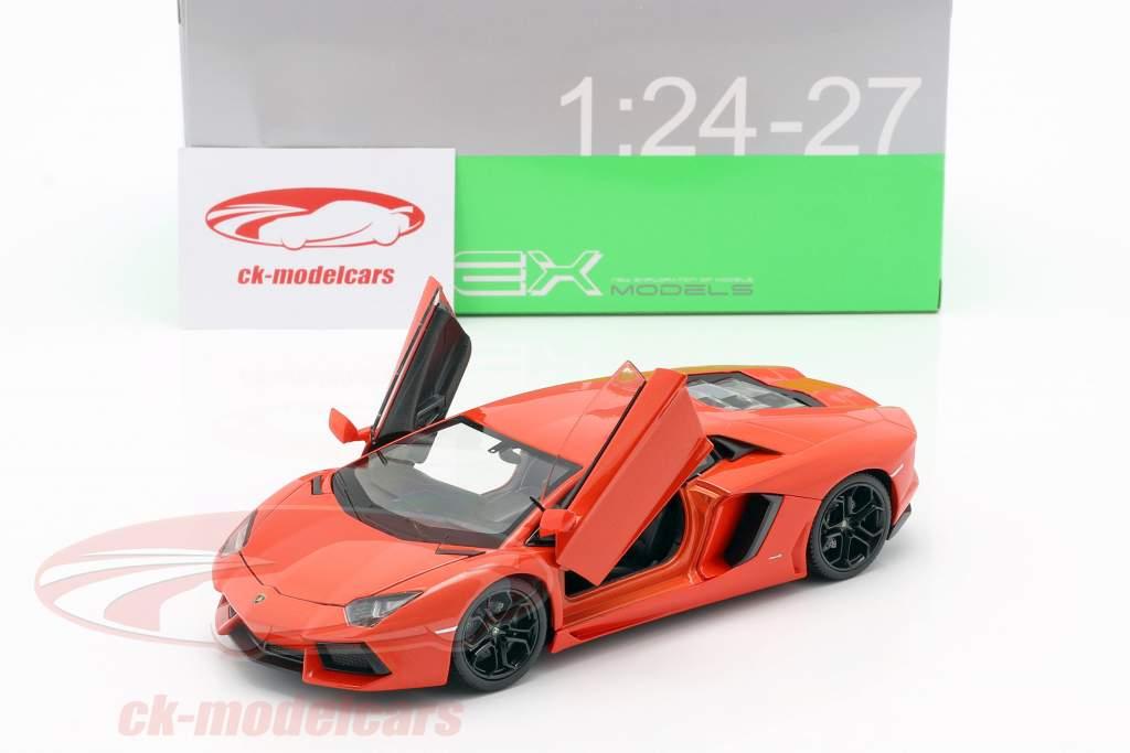 Welly 1 24 Lamborghini Aventador Lp700 4 Year 2011 Orange 24033o Model Car 24033o 4891761240332