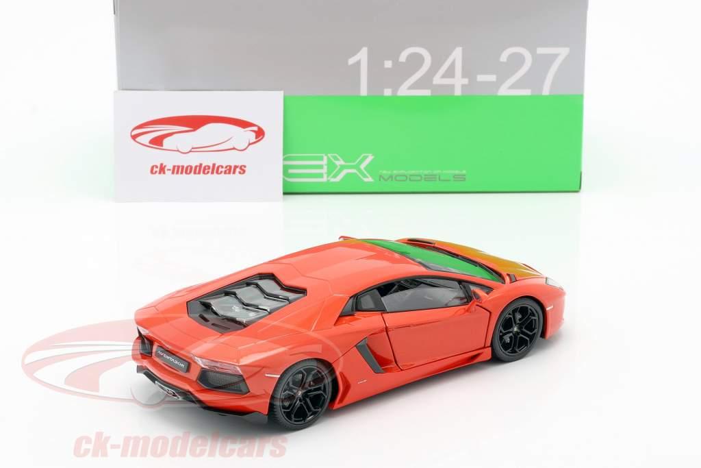 Lamborghini Aventador LP700-4 Ano 2011 Laranja 1:24 Welly
