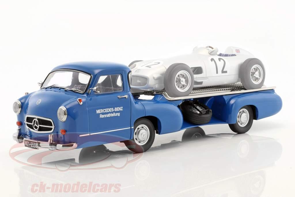 """Mercedes-Benz Renntransporter """"de blauw wonder"""" Bouwjaar 1955 blauw 1:18 iScale"""
