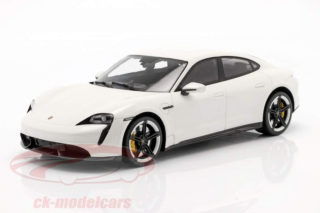 Porsche Taycan Turbo S Année de construction 2019 carrara blanc avec Vitrine 1:18 Minichamps
