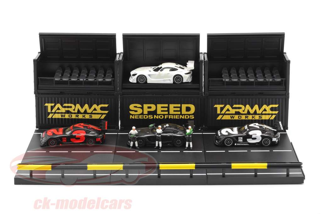 4-Car Set Mercedes-Benz AMG GT3 #3 with Pit lane diorama 1:64 Tarmac Works