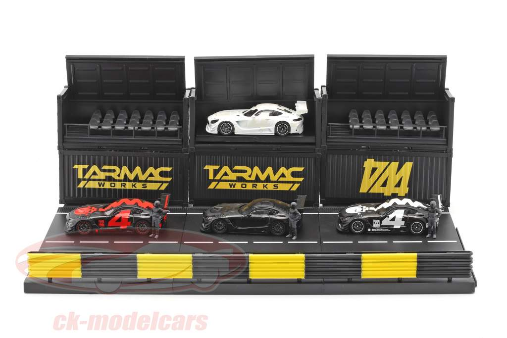 4-Car Set Mercedes-Benz AMG GT3 #4 com Pit lane diorama 1:64 Tarmac Works