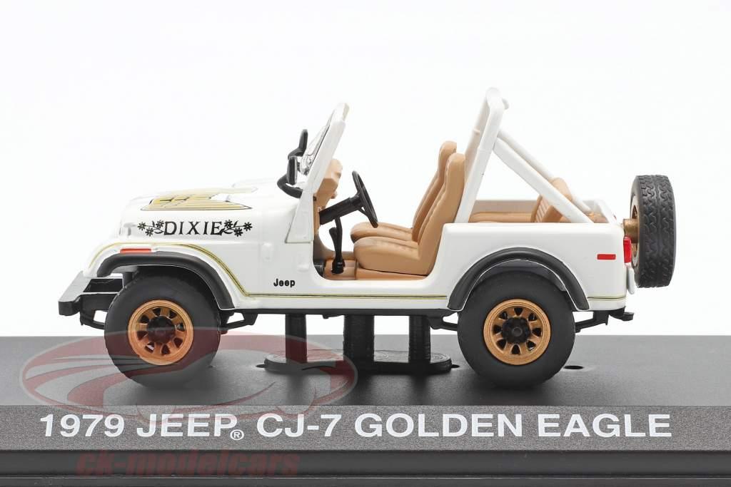 Jeep CJ-7 Golden Eagle Année de construction 1979 blanc / or 1:43 Greenlight
