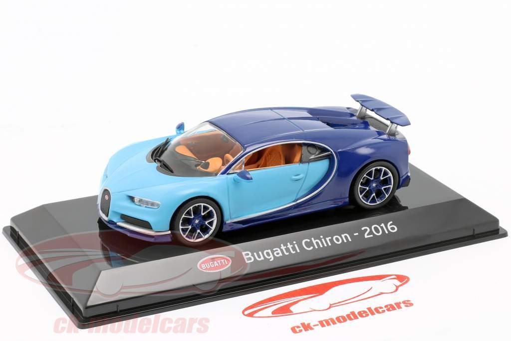 Bugatti Chiron Bouwjaar 2016 licht blauw / donker blauw 1:43 Altaya