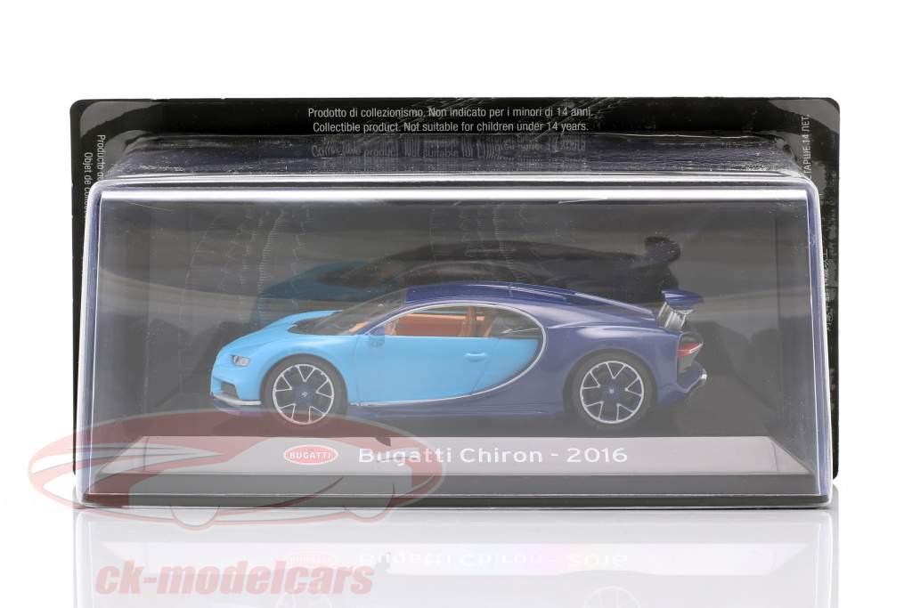 Bugatti Chiron Byggeår 2016 lys blå / mørk blå 1:43 Altaya