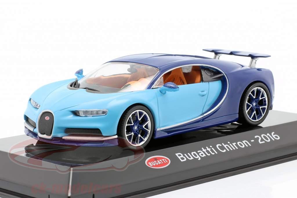 Bugatti Chiron Año de construcción 2016 luz azul / oscuro azul 1:43 Altaya
