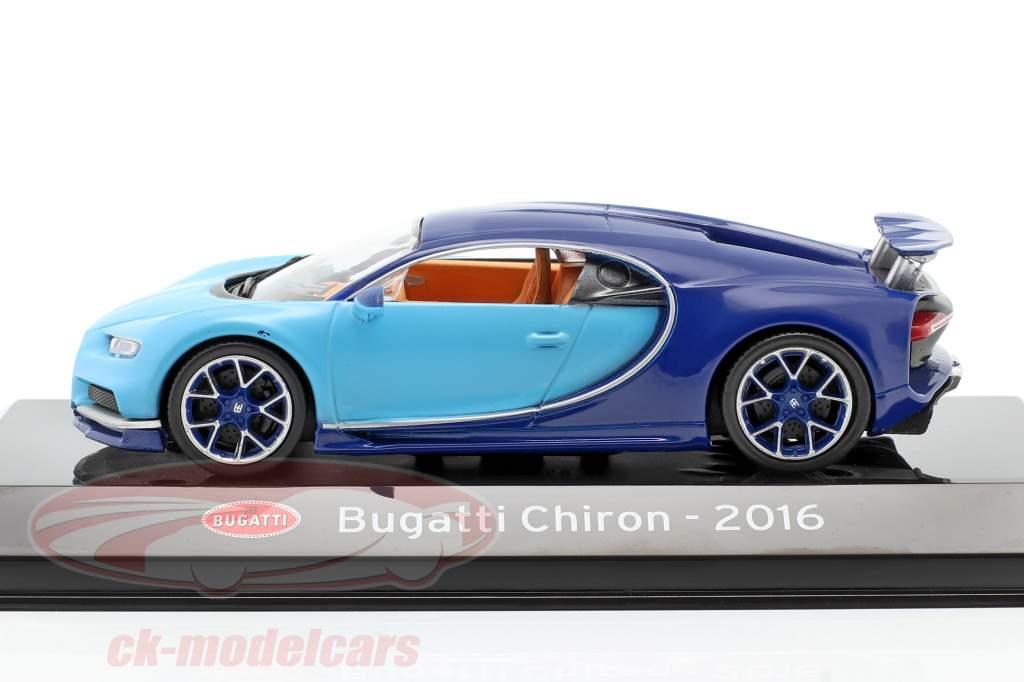 Bugatti Chiron Année de construction 2016 lumière bleu / sombre bleu 1:43 Altaya
