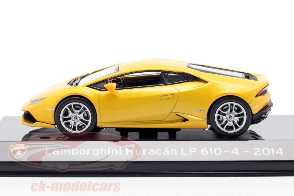 Lamborghini Huracan LP610-4 Bouwjaar 2014 geel metallic 1:43 Altaya
