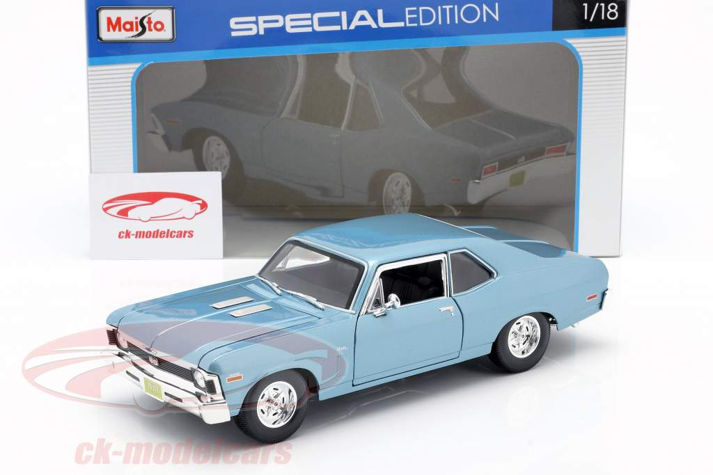 Chevrolet Nova SS Coupe year 1970 light blue metallic 1:18 Maisto