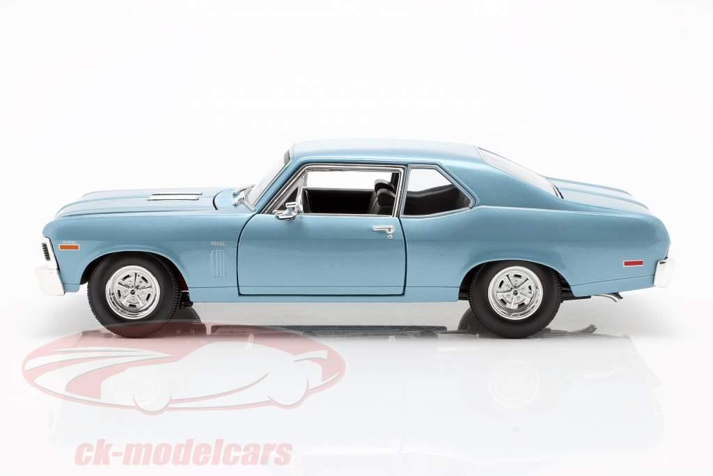 Chevrolet Nova SS Coupe Baujahr 1970 hellblau metallic 1:18 Maisto
