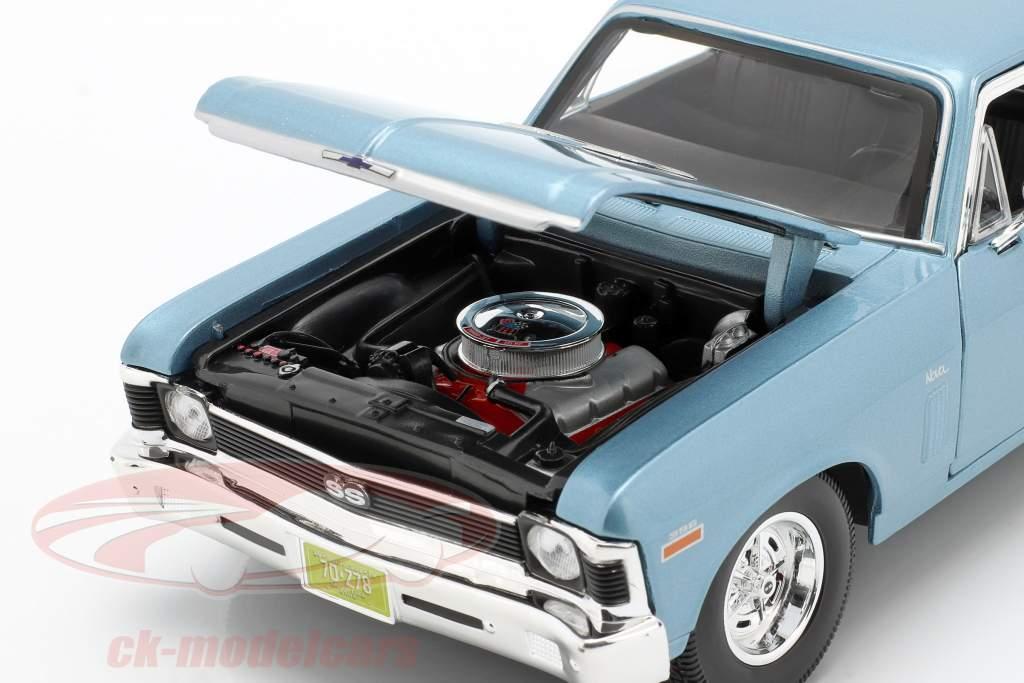 Chevrolet Nova SS Coupe Anno di costruzione 1970 luce blu metallico 1:18 Maisto