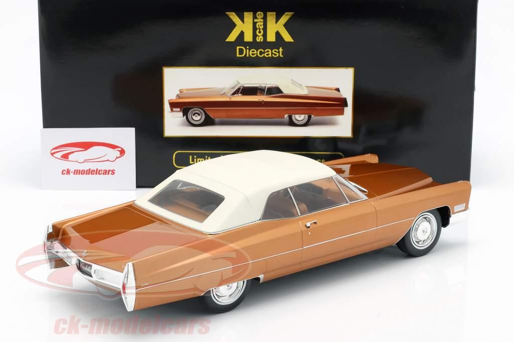 Cadillac DeVille con Softtop Año de construcción 1967 marrón dorado metálico 1:18 KK-Scale