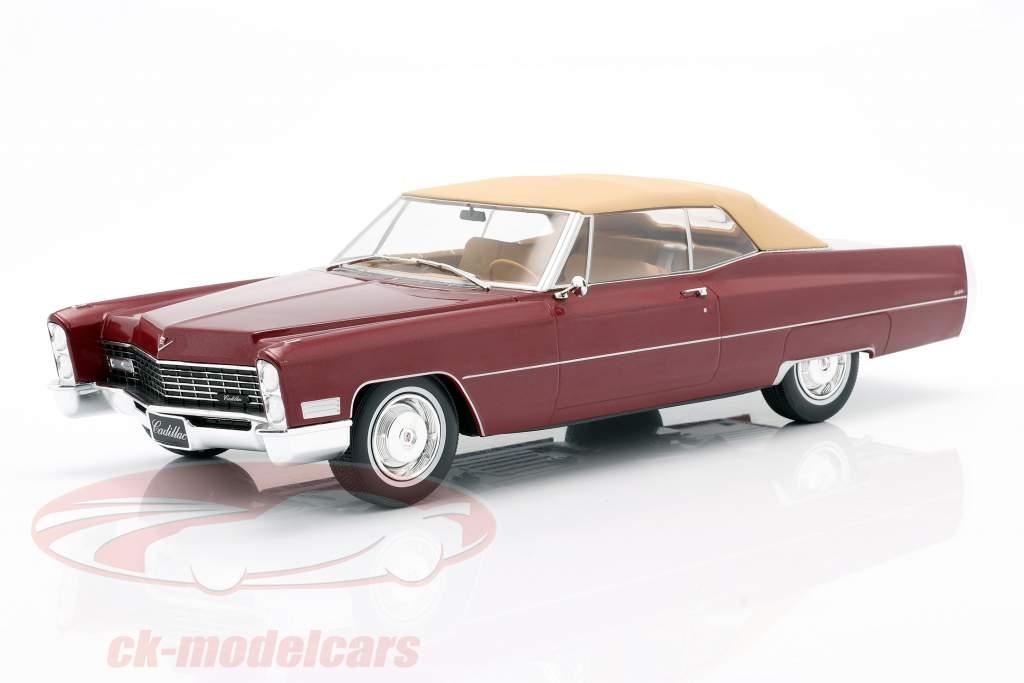 Cadillac DeVille con Softtop Anno di costruzione 1967 Bordeaux-RED metallico 1:18 KK-Scale
