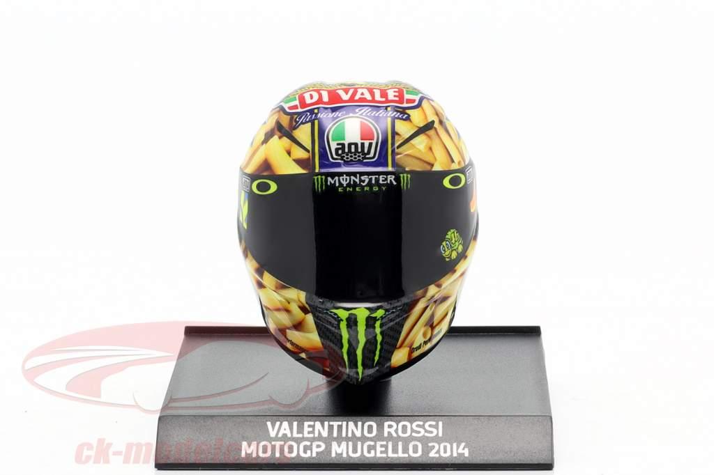 Capacete Valentino Rossi MotoGP Mugello 2014 AGV 1:10 Minichamps