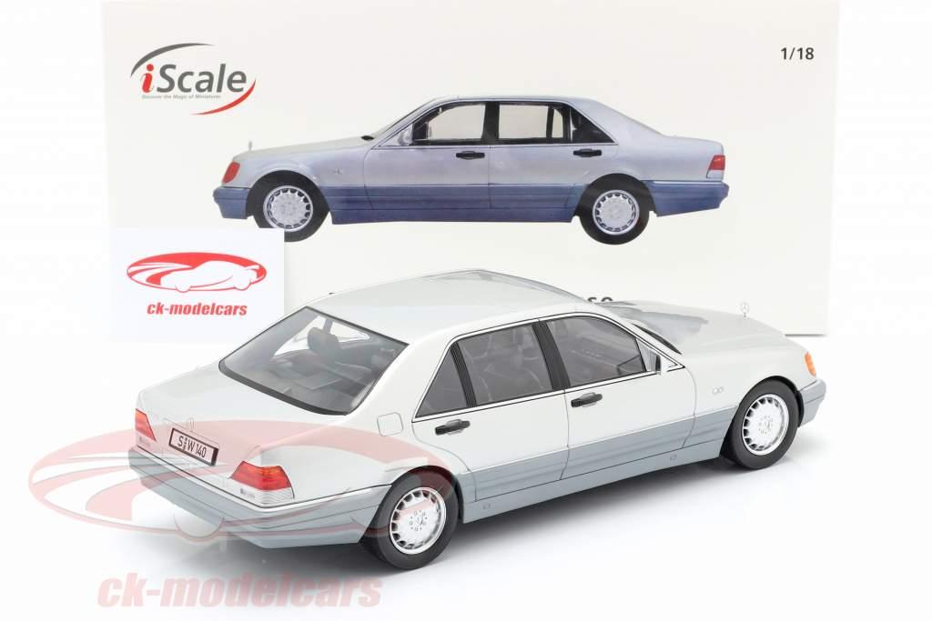 Mercedes-Benz S500 (W140) Bouwjaar 1994-98 briljant zilver / grijs 1:18 iScale