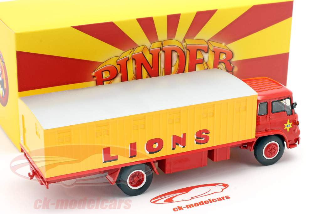 Bedford Pinder Circo #44 Gatos salvajes Transportador amarillo / rojo 1:43 Direkt Collections