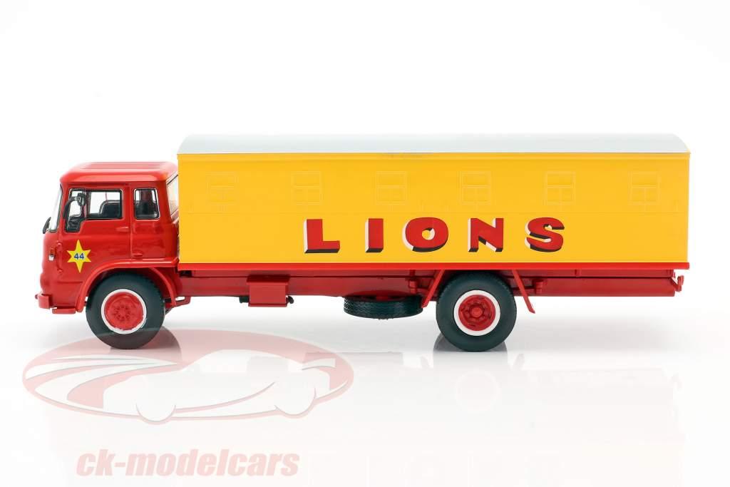 Bedford Pinder Circus #44 Gatos selvagens Transportador amarelo / vermelho 1:43 Direkt Collections