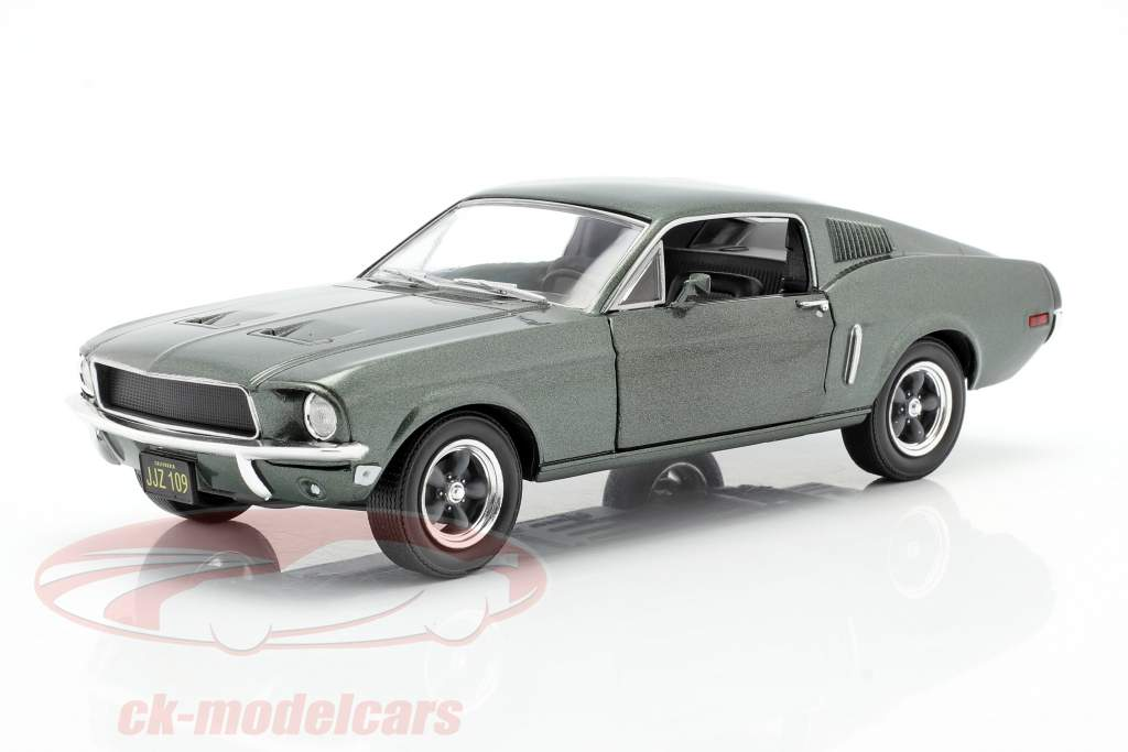 Ford Mustang GT Año de construcción 1968 Película Bullitt (1968) verde metálico 1:24 Greenlight