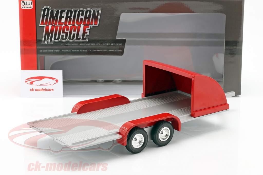 Quatro roda aberto Carro Trailer vermelho / cinza prateado 1:18 Autoworld