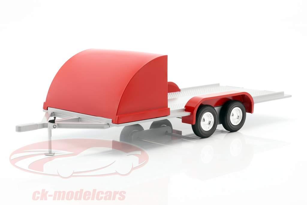 Vier wiel open Auto Trailer rood / zilvergrijs 1:18 Autoworld