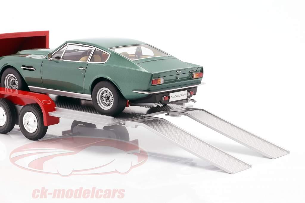 fire hjul åbent bil trailer rød / sølvgrå 1:18 Autoworld