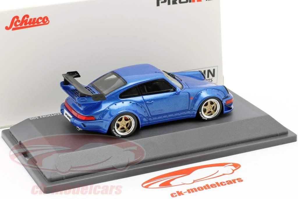 Porsche 911 (964) RWB Rauh-Welt blå metallisk 1:43 Schuco