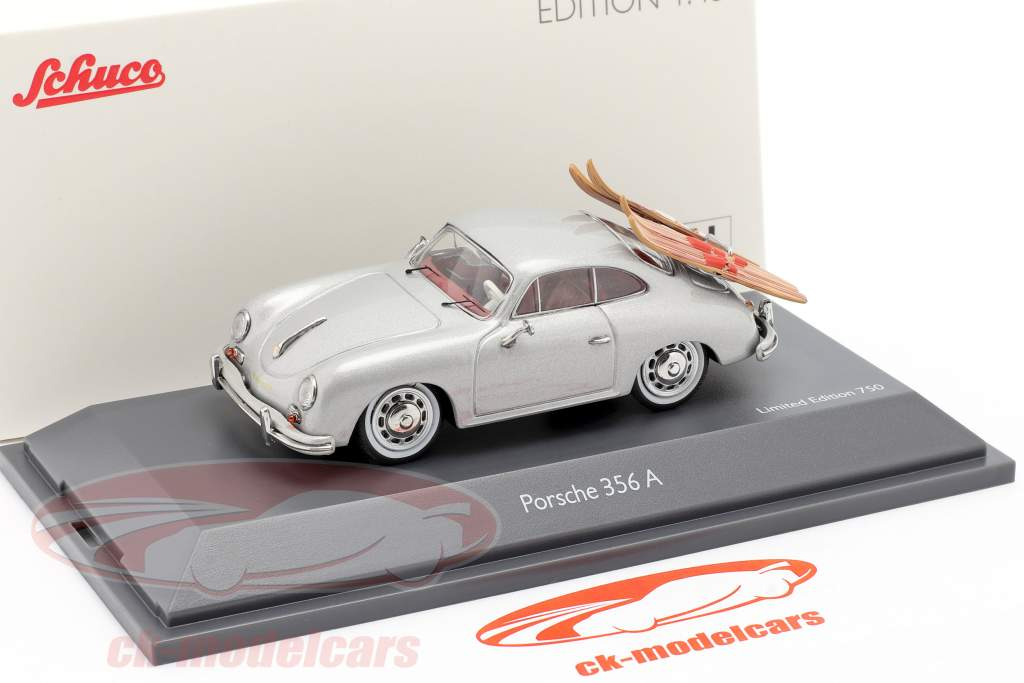 Porsche 356A Sci d'acqua grigio argento metallico 1:43 Schuco