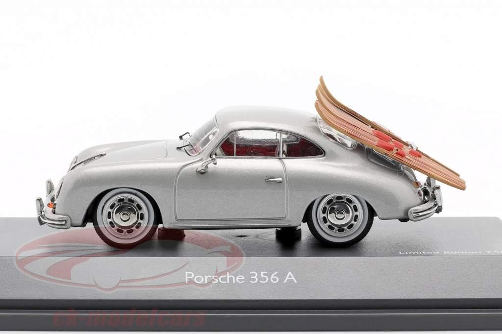 Porsche 356A Ski nautique gris argenté métallique 1:43 Schuco