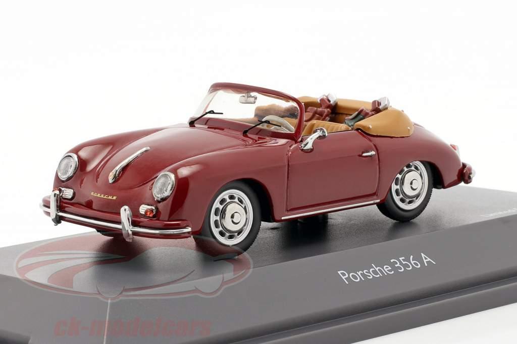 Porsche 356A Cabriolet golf mørk rød 1:43 Schuco