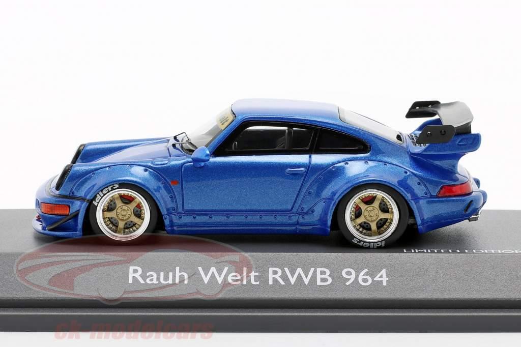 Porsche 911 (964) RWB Rauh-Welt blu metallico 1:43 Schuco