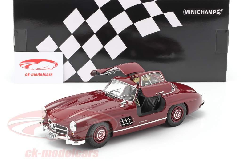 Mercedes-Benz 300 SL (W198) Gullwing Año de construcción 1955 oscuro rojo 1:18 Minichamps