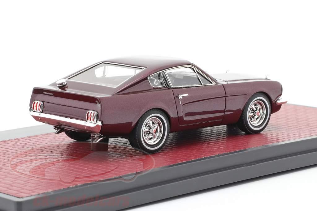 Ford Mustang Fastback Shorty Anno di costruzione 1964 scuro rosso metallico 1:43 Matrix