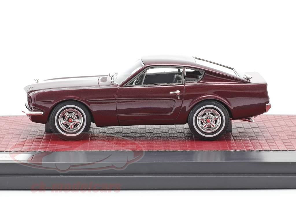 Ford Mustang Fastback Shorty Ano de construção 1964 escuro vermelho metálico 1:43 Matrix