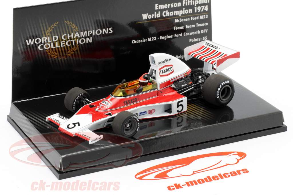 Emerson Fittipaldi McLaren Ford M23 #5 Formula 1 Campeão do mundo 1974 1:43 Minichamps