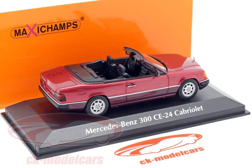 Mercedes-Benz 300 CE-24 Descapotable (A124) 1991 oscuro rojo metálico 1:43 Minichamps